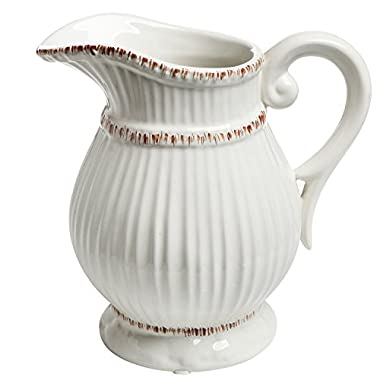 White Ceramic Vintage Style French Country Water Pitcher Flower Vase / Decorative Bouquet Holder