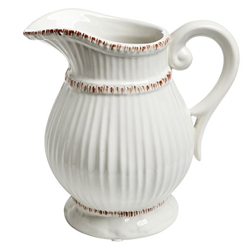 Vintage Cream Pitcher - MyGift White Ceramic Vintage Style French Country Water Pitcher Flower Vase/Decorative Bouquet Holder