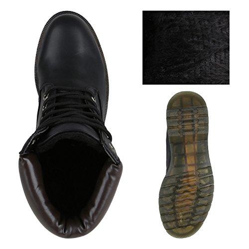 Stiefelparadies Herren Worker Boots Profilsohle Flandell Schwarz Carlet