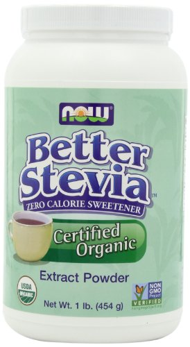 NOW Better Stevia Zero Calorie Sweetener Extract Powder , Certified Organic, 16 Ounce Container