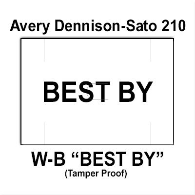 200,000 Sato compatible 210 ''Best By'' White General Purpose Labels to fit the Avery Dennison Sato 210, 220, 230 Price Guns. Full Case. by Infinity Labels