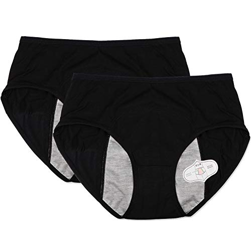 Menstrual Period Leak Proof Underwear Panties for Girls Heavy Flow,Women Postpartum Bleeding After Birth (Black, S