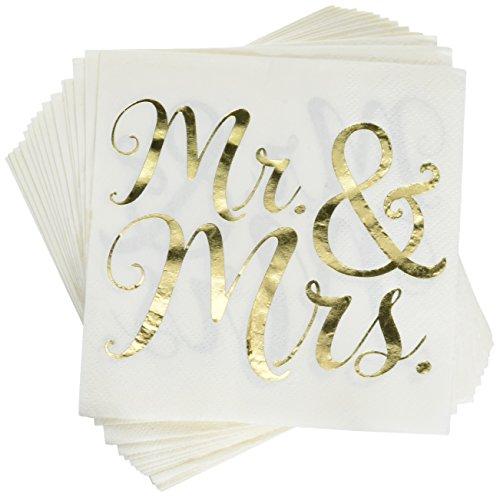Amscan Wedding Beverage Napkins, Gold/White, 5