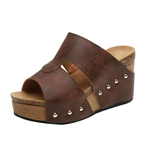 Sunhusing Women's High Platform Thick Bottom Rivet Decorated Bohemian Style Slope Wedge Sandals Slippers Coffee ()