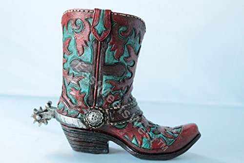 Western Cowboy Cowgirl Rustic Turquoise Cross Concho Spur Boot Piggy Bank Hand Painted Decoration