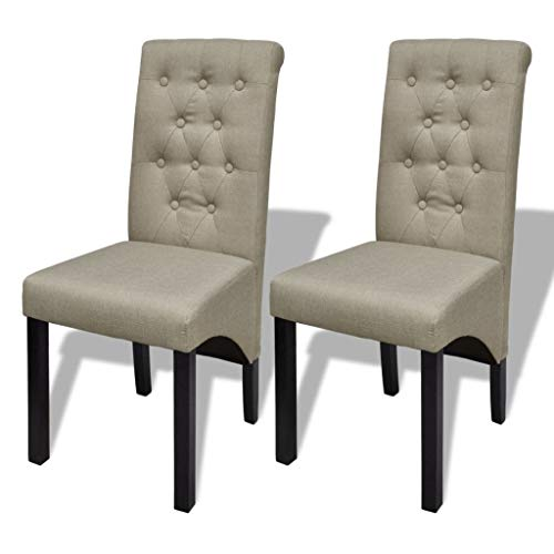 (Festnight Set of 2 Dining Chairs Linen Coated Fabric Scroll High Back Armless Side Chair with Wooden Frame Legs Home Kitchen Dining Living Room Furniture Beige 16.5