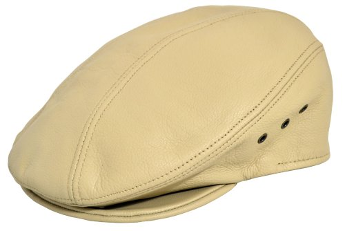 Emstate PEBBLED COWHIDE LEATHER FINE IVY DRIVER CAP MADE IN USA L/XL (7-1/4-7/-3/8), BONE