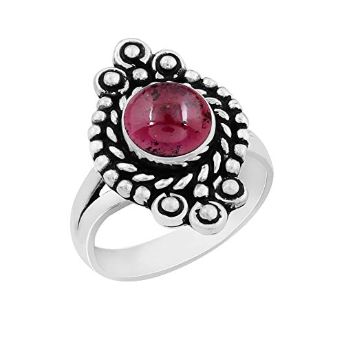Genuine Round Shape Garnet Solitaire Ring 925 Silver Plated Vintage Style Handmade for Women Girls (Size-8)