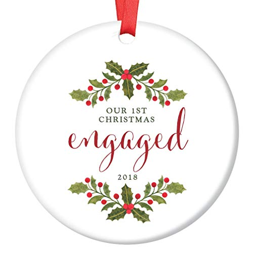 First Christmas Engaged Ornament 2018 Ceramic Collectible Gift Idea 1st Holiday Engagement Present for Future Bride & Groom Marriage 3