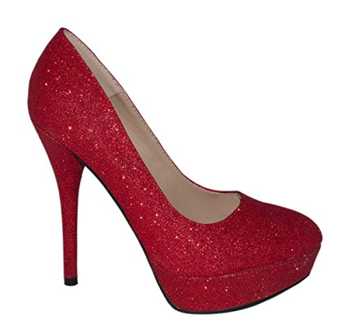 Rosso Scarpe con Rosso Donna plateau Elara XZg84qX