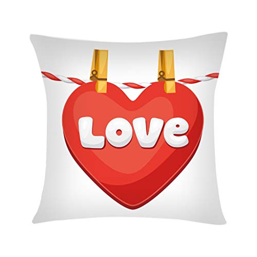 scamper Valentine's Day Throw Pillow Cover DIY Cushion Set of Red Love Heart Romantic Lover Polyester Sofa Car Decoration