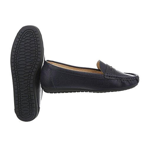 Ital-Design Chaussures Femme Mocassins Plat Mocassins Bleu Pointure 36