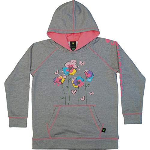 John Deere Little Girls Grey Flower Hoodie Tech Fleece (Size 6X) - LP68973