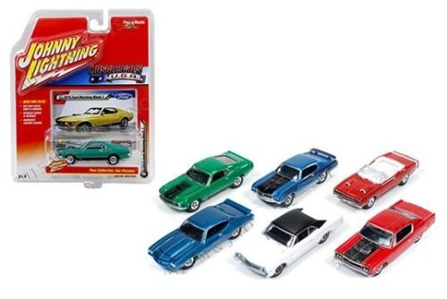 New 1:64 AUTO WORLD JOHNNY LIGHTNING COLLECTION - MUSCLE CARS U.S.A. - RELEASE B Diecast Model Car By Auto World Set of 6 Cars 1970 Chevelle Ss Convertible