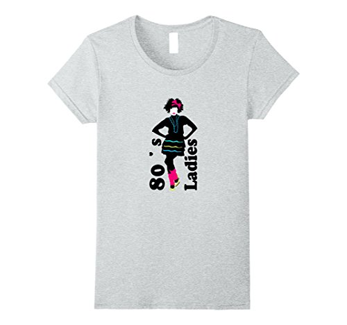 Womens 80's Ladies T- Shirt 1980s Retro Women's Clothing & Apparel Large Heather (Best 80s Themed Costumes)