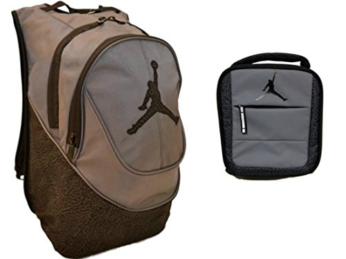 36e5f82251e679 Nike Air Jordan Jumpman Gray Black Elephant Print Backpack   Insulated  Trainer Lunch Tote Bag Set + FREE Cell Phone Dust Plug - Buy Online in UAE.