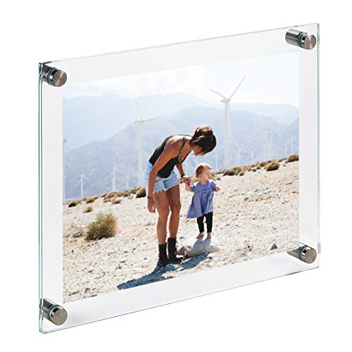 Clear Tempered Glass Wall Picture Frame 16 x 20 Inch (Perfect for Photo, Diploma, Art) - Wall Mount or Hang - Farmless Double Glass Floating Frame with Stainless Steel Standoffs. (Full Size 18 x 22)