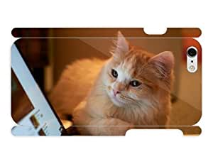3d Full Wrap Case for iPhone 6 Animal - Cat Looking At Lapto