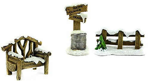 Miniature Snow Covered Fence, Bench and Sign That Reads - Happy Camper Trail - for Home Decor or Fairy Garden
