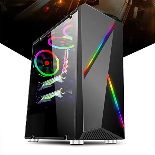 Wecnday-Home High Airflow PC Case Gaming Computer Case Towers Glass Panel Desktop Computer Mainframe Full-Side Transparent Chassis Cooling (Color : Black, Size : One Size)
