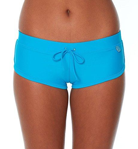 Body Glove Women's Smoothies Sidekick Solid Sporty Bikini Bottom Swimsuit Short, Ocean, Large