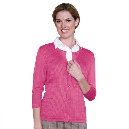 Monterey Club Ladies Classic Cable Crew Neck 3/4 Sleeve Cardigan #6165 (Raspberry, X-Large)