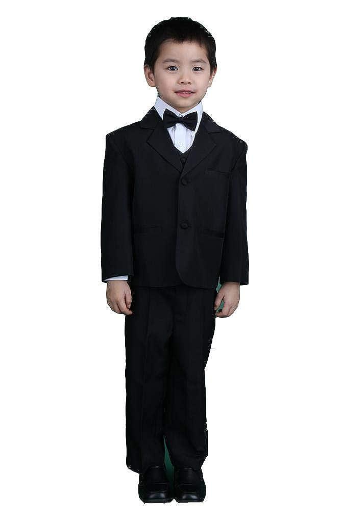 Boy Black 5-Piece Formal Dress Suit Tuxedo Set With Bow