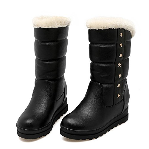 AgooLar Closed Soft Boots Low Women's Kitten Pull Round Black top Toe Material Heels on rrUvqn