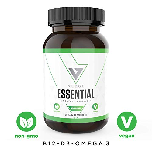 Vegan Daily Multivitamin Contains Vitamin D, Vitamin B12, Algal Oil for Vegan EPA & DHA – Natural Vitamins, Minerals – 30 Day Supply, Vegan Omega 3 – Vedge Nutrition Essential