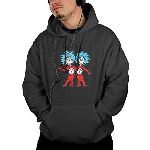 Maread Thing-1 Thing-2 Men's Sweatshirt Hoodies Full Trendy Printed With 2 Pockets Black X-Large -