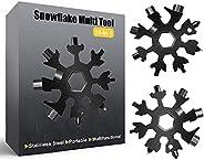 Snowflake Multitool,2PCS Black 18-in-1 Snowflake Standard Multi Tool, Stainless Steel Snowflake Wrench with Ke