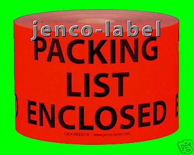 Jenco-Label HE3501R, 500 3x5 Packing List Enclosed Label/Sticker