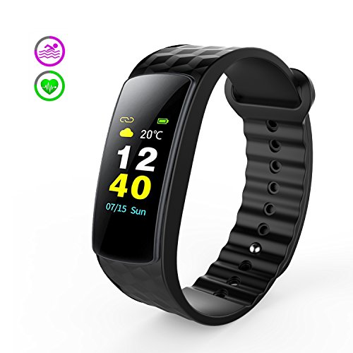 Antimi Color Fitness Trackers, Activity Tracker Show the weather temperature Heart Rate Monitor Smart Bracelet Bluetooth Pedometer Smartwatch for Android and iOS Smartphones(Black)