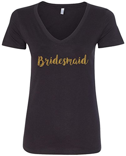 Threadrock Women's Bridesmaid V-Neck T-Shirt L - Shirts Bridesmaid Tee