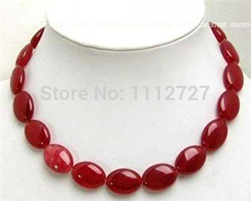Fashion 13MM Red Ruby Flat Oval Jasper Necklace Beads Jewelry Natural Stone 18