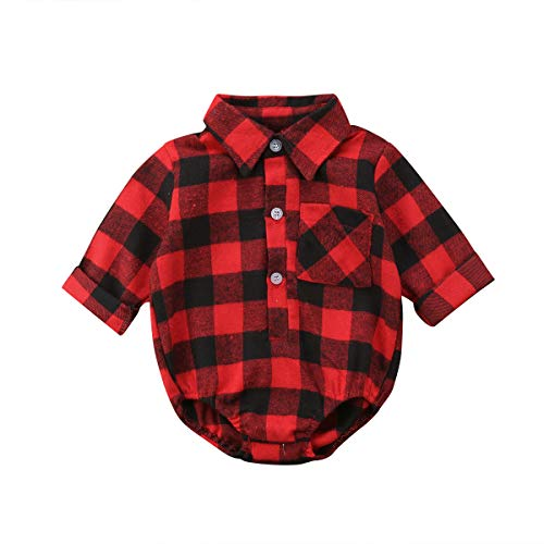 Baby Christmas Clothes Baby Boy Girl Long Sleeve Plaid Rompers Bodysuits Blouses Style Romper Jumpsuits One-Piece Outfits Clothes (Red Black, 0-3 Months)