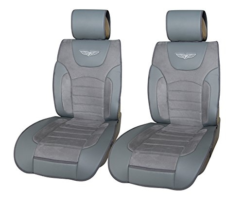 180202 Grey-2 Front Car Seat Cover Cushions Leather Like Vinyl & Suede , Compatible to Nissan Altima 370Z Armada Frontier Juke Leaf March Maxima Pathfinder Rogue Quest Sentra Tiida Versa X-Trail