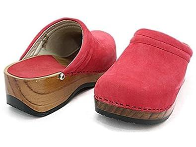 matériaux de haute qualité haute couture différents types de ROMUS - sabot femme cuir semelle bois rouge femme ...