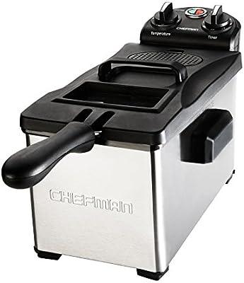 Chefman freidora 3,7 Quarts, acero inoxidable con botón giratorio para ajustar la temperatura, contenedor de aceite desmontable – Rj07 – 3ss-t