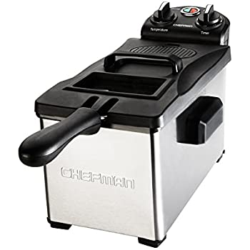 Chefman Deep Fryer 3.7 Quarts, Stainless-steel with Rotary Knob for Adjusting the Temperature, Removable Oil Container - RJ07-3SS-T