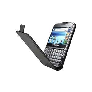 Foxchip - Housse / Etui CUIR Noir à rabat avec emplacement CB pour Samsung B7510 - 3700258858206