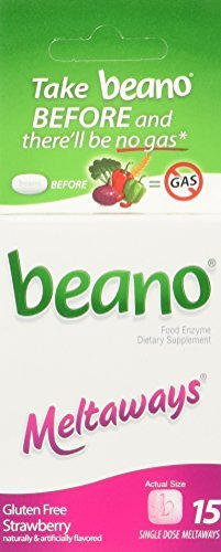 beano Strawberry Meltaways Gas Prevention | Bloating Relief | 15 Count | Packaging May Vary