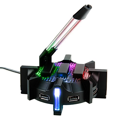 Pro Gaming Mouse Bungee Cable Holder 4 Port USB Hub with 7 LED Modes - Cable Management Support - Improved Accuracy & Weighted Design for Competitive eSports Games - Essential Gaming Gear