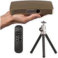 SABRE D2 Gold 500 Lumens LED Pocket Projector, Home Theater Video Projector HD Supports 1080P HDMI USB SD Card AUX Bluetooth for Home Cinema TV Laptop Game iPhone Android Smartphone with Free Tripod