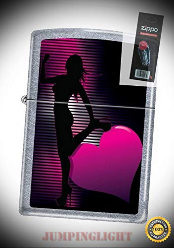 3647 Sexy Woman Silhouette Street Chrome Lighter with Flint Pack - Premium Lighter Fluid (Comes Unfilled) - Made in USA!