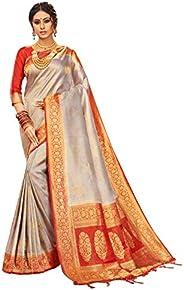 Elina fashion Sarees for Women Banarasi Art Silk l Indian Rakhi Wedding Diwali Gift Sari with Unstitched Blous