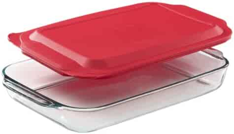 Pyrex 4.8-qt Oblong Baking Dish with Red Lid