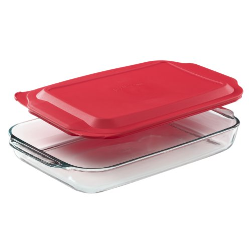 - Pyrex 4.8-qt Oblong Baking Dish with Red Lid