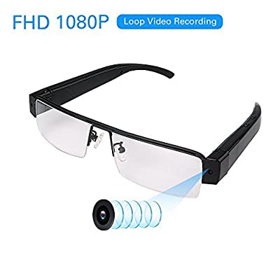 FHD 1080P Wearable Camera With Audio Remote- MINI Spy Camera Sunglasses - Mini DV Camcorder Loop Video Recorder - Take Pics - Support Micro SD Card from YAOAWE