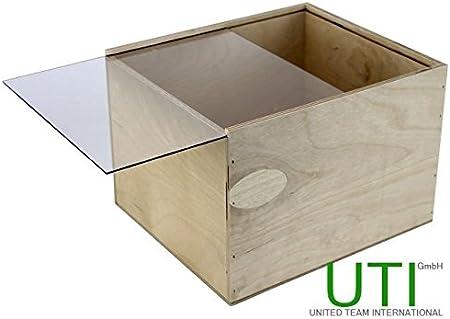 contrachapado Caja con tapa deslizante de plexiglás – Caja de madera caja joyero caja joyero: Amazon.es: Hogar